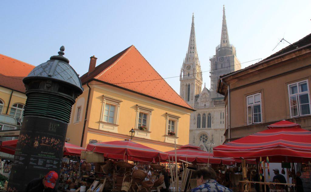 Street market in Kaptol the Upper Town of Zagreb